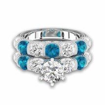Aquamarine & Sim Diamond With Six-prong Bar Setting Bridal Set For Female - $130.00