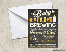 Baby Brewing Shower Beer & Bottle Party Invitations Personalized Custom - $0.99+