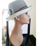 womens fedora hat white and black feather band stripes straw style new g... - $7.99