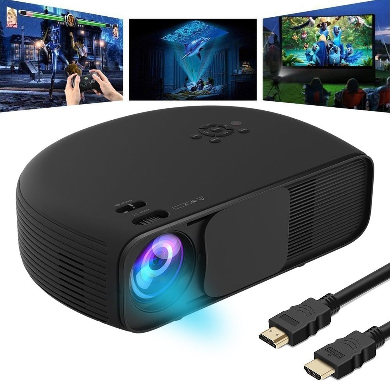 GOXMGO Video Projector 1080P HD LED Portable Movie Projector 3500 Lumens Proj...
