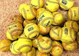 "Large Lot of 13 Yellow 12"" Practice Training Fastpitch Slowpitch Softbal... - $37.57"