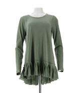 LOGO Lori Goldstein Cotton Slub Knit Top Pleated Hem Green Spruce M NEW ... - $32.65