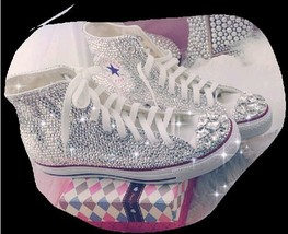 Bling Bling Prom Shoes Girls Rhinestone Converse Shoes Bridal Sneaker Shoes - $175.00
