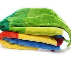 DaDa Bedding Flannel Throw Blanket - Striped Rainbow Soft Warm Fleece - Bright V