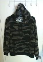 Open Trails Men's Black & Gray Camo Long Sleeve Sherpa Pullover Hoodie -... - $18.40