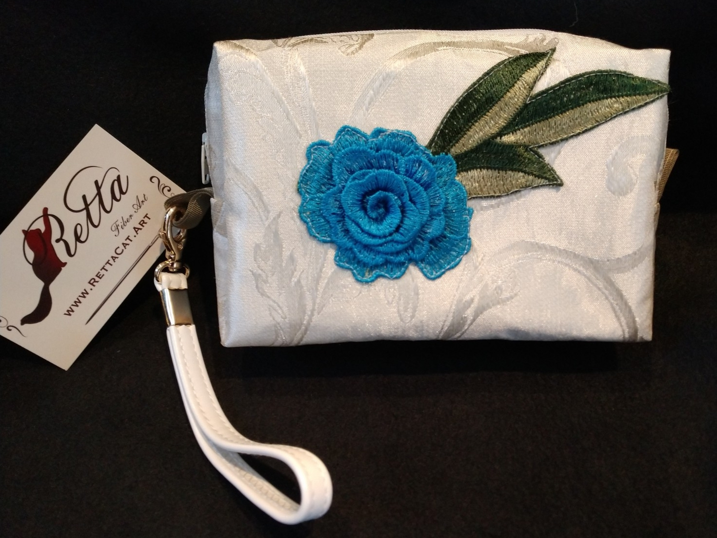 Clutch Bag/Wristlet/Makeup Bag - Single Blue Rose Applique on Ivory Brocade
