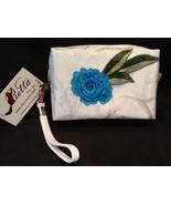 Clutch Bag/Wristlet/Makeup Bag - Single Blue Rose Applique on Ivory Brocade - $29.95