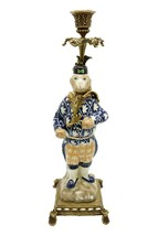 Cute Decorative Chinese Porcelain Monkey Figurine Brass Candle Stick Hol... - $148.49