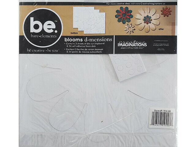 Creative Imaginations Blank Chipboard Blooms d-mensions, 3 Sheets & 24 Foam Dots