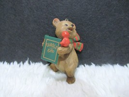 Plastic Bear With Scarf And Christmas Carols Book With Red Bird Ornament - $6.25