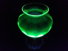 Depression Green/Vaseline Glass Footed Vase w/ clear Stem - $24.74