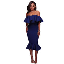 Off Shoulder Ruffle Midi Dress  at bling brides bouquet online bridal store image 8