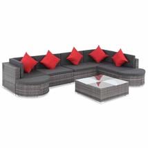 vidaXL Outdoor Sofa Set 27 Piece Poly Rattan Wicker Gray Patio Couch Lounge - $575.99