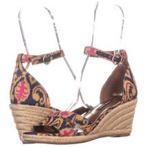 Nine West Jeranna Wedge Heel Espadrilles Sandals, Blue Multi, 8 US - $34.55