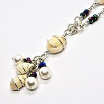 Necklace the Aluminium Long 48 Inch with Seashells Hematite & Pearl White image 3