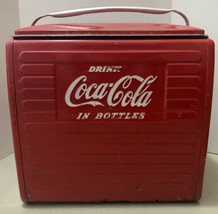 "Coca Cola Antique Vintage Red Metal Cooler ""Drink Coca Cola in Bottles"" - $399.99"