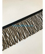 "By the Yard-3""-BLACK Glass BUGLE Bead Beaded Fringe Lamp Costume Trim - $13.99"