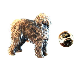 old english sheepdog, shaggy Dog made in english Pewter Lapel