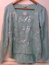 Womens Juniors S FOREVER 21 Long Sleeve Sequined Hi-Low Green Sweatshirt... - $17.95