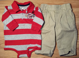 Boy's Size 3-6 M Months 2 Pc Red & Gray L/S Arizona Top & Tommy Hilfiger... - $14.00