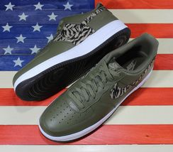 Nike Air Force 1 One Low AOP Basketball Shoes Olive-Green/White [AQ4131-200]- 13 image 9