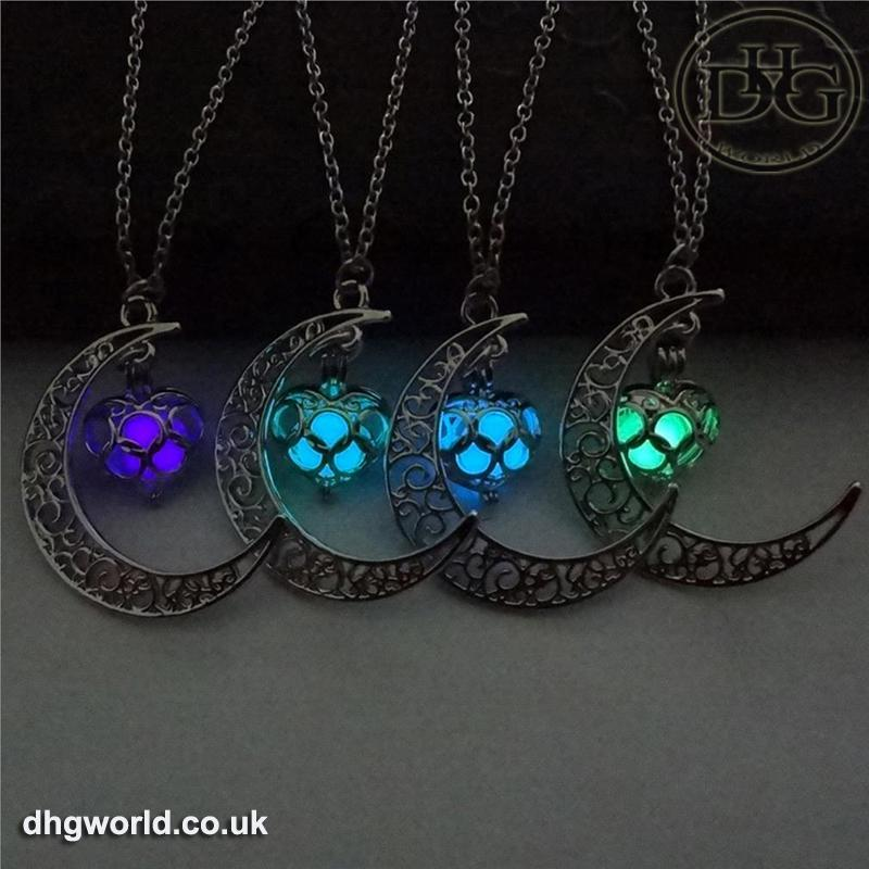 YAKAMOZ Enchanting Moon & Heart Theme Ladies Necklace - Glow in the Dark