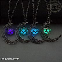 YAKAMOZ Enchanting Moon & Heart Theme Ladies Necklace - Glow in the Dark image 1