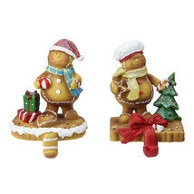 """2 Glitter Accented Gingerbread Christmas Stocking Holders 5.25"""" - $71.95"""