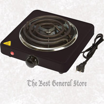 Black Stainless Steel Single Burner Electric Hotplate Adjustable Tempera... - $26.98