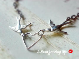 Silver Love Sparrows Necklace Silver Love Birds Necklace Sparrow Jewelry... - $30.00+