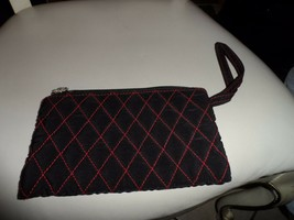 Vera Bradley black microfiber wristlet with red stitching - $16.50