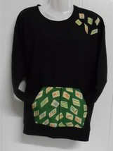 One of a Kind~Black Sz XL Sweatshirt Embellished/Appliqued w/Mah Jongg T... - $25.00