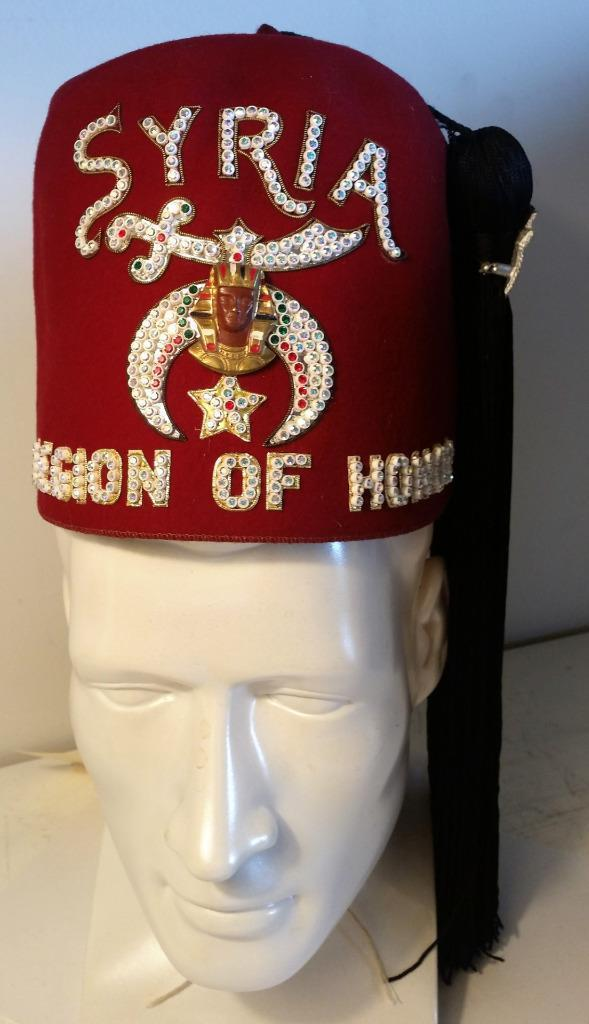 Vintage Shriner's Syria Legion of Honor Fez Hat Rhinestones Tassel Jeweled Pin