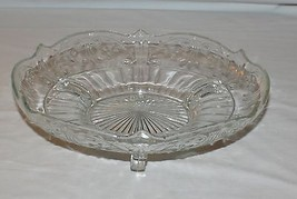 Clear Pressed Glass 3-Footed Dish Bowl Embossed Flowers Starburst Scalloped - $9.85