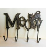 Cast Iron Cat Meow Wall Hook 8 Inches New - $19.40