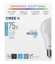 Cree 75W Equivalent Daylight (5000K) A19 Dimmable Exceptional Light Qual... - $9.90