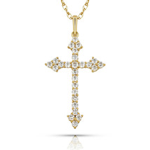 0.77Ct Round Simulated Diamond Cross Religious Charm Pendant 14k Yellow ... - $83.14+