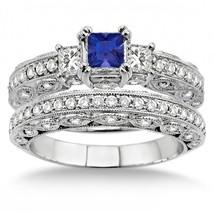 2 Carat Sapphire and Simulated Diamond Antique Milgrain Trilogy Bridal set  - $99.99