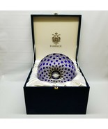 Faberge Russian Imperial Court Cobalt Blue Cut to Clear Crystal Bowl in Box - $1,148.00