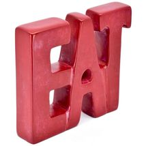 Vaneal Group Hand Carved Soapstone Red EAT Free-Standing Word Kitchen Sign Decor image 5