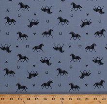 Horses Horseshoes Hearts Equestrian Ranch Blue Cotton Fabric Print BTY D... - $10.95