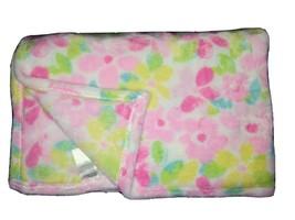 Baby Starters Floral Fleece Blanket Lovey Pink Aqua Yellow Green SOFT Flowers LN - $22.64