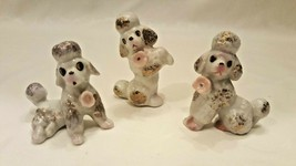 Vintage Set 3 Small White Poodle Dog Figurines Pink Rose Gold Trim Japan... - $35.00