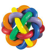 Hard Rubber Dog Toy Knobbly Colorful Wobbly Large 4 Inch Tough Toys for ... - $14.74