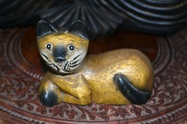 Vintage Wooden Hand Carved Cat Statue Figurine - $39.50