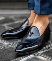 Handmade Men Black Leather Dress shoes Moccasins, Men black Leather formal shoes - $164.99