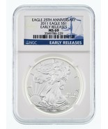 2011 Silver American Eagle 25th Anniversary Graded by NGC as MS-69 ER - $39.73