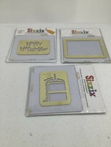 3 Sizzix Simple Impressions Embossing Folders Birthday Cake Happy Halloween Note - $14.01