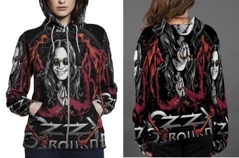Ozzy osbourn hoodie zipper fullprint women