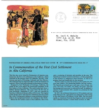 1977 USPS, First Civil Settlement in Alta, California, 13 cent, 1st Day of Issue - $2.75